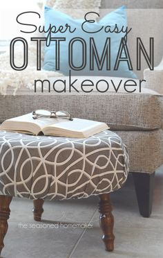 Years ago I inherited this ottoman that needed refurbishing. Find out my fast and easy way to make a DIY slip cover that gave this ottoman a whole new look. - Diy Home Crafts Diy Footstool, Diy Ottoman, Ottoman Cover, Ottoman Slipcover, Slipcovers, Furniture Projects, Furniture Makeover, Diy Furniture, Refurbishing Furniture