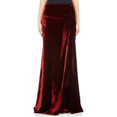 Dries Van Noten Women's Stalch Floor-Length Skirt (1,570 CAD) ❤ liked on Polyvore featuring skirts, burgundy, long velvet skirt, long skirts, long red skirt, ankle length skirt and velvet skirt