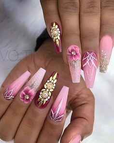 Expand fashion to your nails by using nail art designs. Donned by fashionable stars, these kinds of nail designs will add instantaneous style to your wardrobe. Pink Acrylic Nail Designs, Pink Acrylic Nails, Nail Art Designs, Fancy Nails, My Nails, Hair And Nails, Pink Bling Nails, Fabulous Nails, Gorgeous Nails