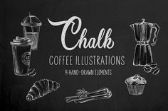 Chalk coffee illustrations set by Tiana on Creative Market - Chalk coffee illustrations set by Tiana on Creative Market - Coffee Chalkboard, Coffee Menu, Chalkboard Art, Coffee Cups, Coffee Coffee, Coffee Shop, Coffee Illustration, Graphic Illustration, Illustrations