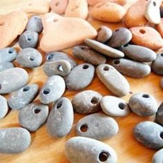 Art A simple tutorial on how to drill holes through small beach or river rocks. Great site with tons of other crafts as well crafts