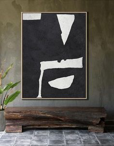 Hand painted vertical abstract art minimalist painting on canvas #MN29B, Black white art by CZ ART DESIGN @CelineZiangArt