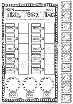 Telling Time Worksheets O'clock And Half Past First Grade