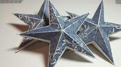 'Christmas star' stamp from Stampin' Up! Made into glittered shabby chic 3d decorations xx