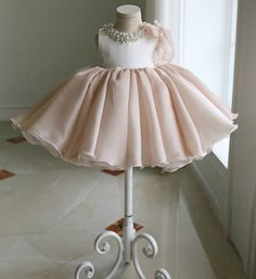 Girly Shop's Dusty Pink Round Neckline Pearl & Crystal Rhinestone Applique Sleeveless Big Bow Back Little Girl Party Dress Childrens Wedding Dresses, Wedding Dresses For Girls, Tutus For Girls, Girls Party Dress, Baby Girl Dresses, Baby Dress, Girl Outfits, Flower Girl Dresses, Girl Tutu