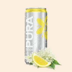 Pura Soda's Lemon and Elderflower flavour soft drink contains less sugar than other soft drinks, is made from natural flavours and contains no colourants. Voss Bottle, Water Bottle, Best Gin, Soft Drink, Good Find, Citric Acid, Elderflower, Non Alcoholic, Refreshing Drinks