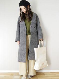 SENSE OF PLACEさんのチェック柄コートに秋色ニットを合わせてシンプルコーデ。 コートはゆ Duster Coat, Urban, How To Wear, Jackets, Fashion, Down Jackets, Moda, Fashion Styles, Fashion Illustrations
