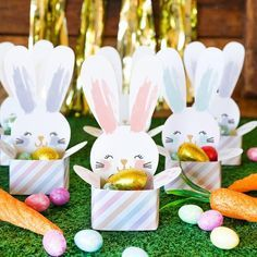 Easy Easter Craft and DIY ideas - make these gorgeous Bunny Cups to hold your Easter treats, so easy, economical and FUN! Comes as handcut and cricut SVG files. gifts non chocolate Easter Bunny Cup Treat Holder Easter Candy, Easter Treats, Easter Gift, Easter Decor, Bunny Crafts, Easter Crafts For Kids, Craft Paper Design, Chocolate Gift Boxes, Chocolate Chocolate