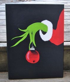 How The Grinch Stole Christmas Canvas Painting Wall Art Grinch Christmas Kids Easy Canvas Painting, Diy Canvas, Easy Paintings, Acrylic Canvas, Canvas Ideas, Painting Art, Painting Pictures, Canvas Pictures, Simple Paintings On Canvas