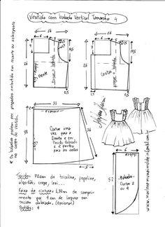 Esquema de modelagem de vestido com babado vertical tamanho 4.
