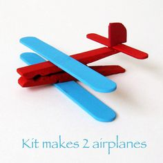 DIY Kids Craft. Popsicle airplanes! ...I think I'll add a magnet to the bottom so they can keep them on the fridge :)