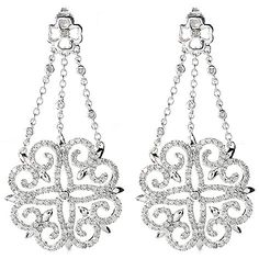 "Gems of Distinction™ by Pamela McCoy, 14K White Gold 2"" 2.00ctw Diamond Circle Chandelier Drop Earrings  Shimmering chandeliers of dazzling diamonds! Crafted in 14K white gold, each earring hosts an abstract flower shape hanging from three chains leading to the post. This flower shape is decorated with diamonds and hosts curlicue heart designs in each corner. Diamonds extend up onto the chains and at the center of the post, which appears in a four leaf clover design. A butterfly back secures…"
