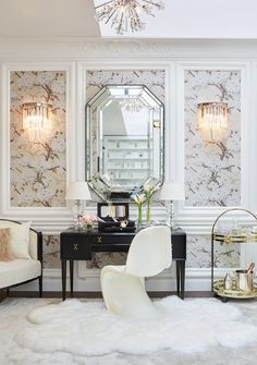 Inside Chanel's Pop-Up Parisian Apartment at Bergdorf Goodman - Inside Chanel's Pop-Up Parisian Apartment at Bergdorf Goodman - Walking Closet Ideas, Home Office Inspiration, Parisian Decor, Parisian Style, Design Apartment, Apartment Living, Apartment Layout, Apartment Interior, Retail Interior