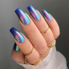 Neon Blue Nails, Blue Acrylic Nails, Bright Nails, Blue Nails With Glitter, Black And Blue Nails, Orange Ombre Nails, Coffin Nails Glitter, Purple Nail, Gorgeous Nails