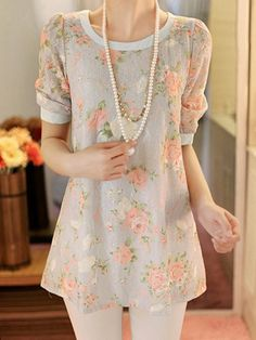 Floral Pattern Casual Scoop Neck 1/2 Sleeve Lace T-Shirt For Women