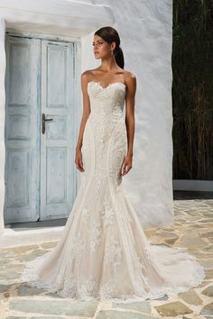 Style 8862: Sequined Lace Fit and Flare Wedding Dress | Justin Alexander
