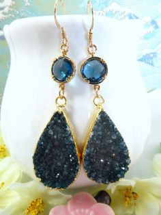 Azure blue druzy blue glass gold dangle earrings blue by KBlossoms, $80.00