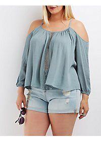 Plus Size Crochet-Inset Cold Shoulder Top: Charlotte Russe Plus Size Blouses, Plus Size Tops, Plus Size Dresses, Plus Size Outfits, Curvy Outfits, Casual Outfits, Fashion Outfits, Womens Fashion, Fashion Trends