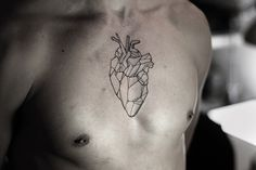 50 geometric heart tattoo designs for men - symmetrical ideas Cool Chest Tattoos, Cool Tattoos, Leg Tattoos, Geometric Heart Tattoo, Tattoos 2014, Epic Tattoo, Gaming Tattoo, Sternum Tattoo, Tattoo Ink