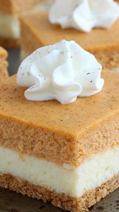 Pumpkin Cheesecake Bars ~ So easy to make and with the right amount of pumpkin flavor, they taste exactly like a cheesecake that crossed paths with a pumpkin pie – the best of both worlds!