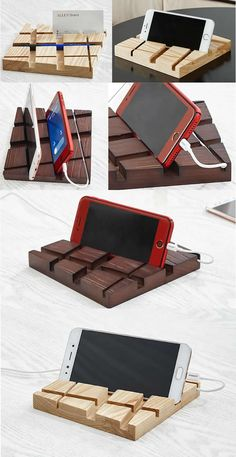 Wooden 4 USB Port Charging Docking Station for Smartphones and Tablets Cool Office Supplies, Cute Notebooks, Cable Organizer, Smart Phones, Ipad Tablet, Docking Station, Unusual Gifts, Office Gifts, Phone Holder