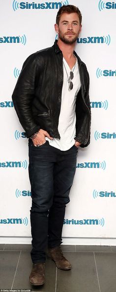 Ruggedly handsome: Thor star Chris Hemsworth (pictured) opted for a leather jacket and jea...