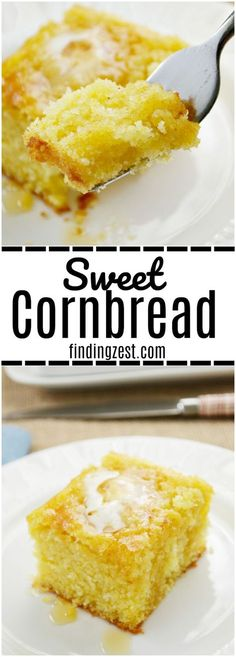 Finding a moist cornbread recipe that is also sweet isn't as hard as you think. If sweet is what you are after, try this sweet cornbread recipe and you won't be disappointed! This cornbread recipe makes a large pan of cornbread, perfect for feeding a group or for leftovers. #cornbread #homemade #dinner #recipe #recipeoftheday