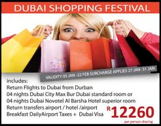 Have you ever experienced shopping in Dubai? Serendipity Travels is now giving you the chance to, call us on 031 2010 630 for more info.