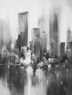 NYC skyline... This would make a lovely charcoal drawing.