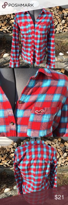Hollister Blue and Red Flannel Worn twice excellent condition Flannel! Always open to offers and discounts on bundles! Hollister Tops Button Down Shirts