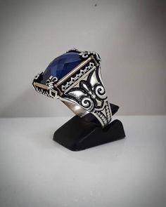 Fleur-de-lis Sapphire sterling silver 925 ring