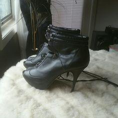 Steve Madden Black peep toe boot, very stylish Steve Madden Shoes Heeled Boots