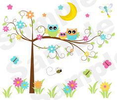 Fancy Owl Tree Wall Art Mural Baby Girl Nursery Kids Room Decor - $30.00 : DeCamp Studios, The best selection of nursery wall murals, childrens wallpaper border, teen girl or boy wall art decals, baby premade scrapbook pages, and digital printable clip art. Barnyard Theme, Jungle Theme, Dinosaur, and Hot Pink Zebra are just a few to choose from.