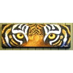 """LSU Tiger Eye On Wood   Home > TIGER EYES CANVAS - 12"""" x 36"""" by Terry Hoyt"""