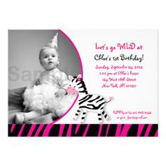 Pink Zebra Jungle Girls Photo Birthday Invitations