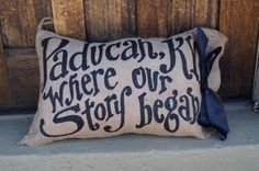 Our Story Began Burlap Pillow by kijsa on Etsy