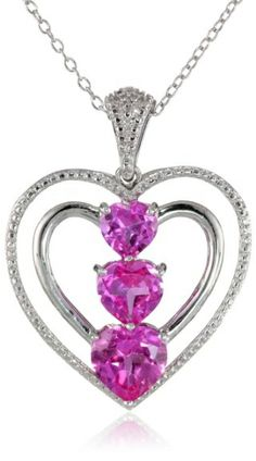 Sterling Silver, Created Pink Sapphire, And Diamond Heart Pendant Necklace, 18