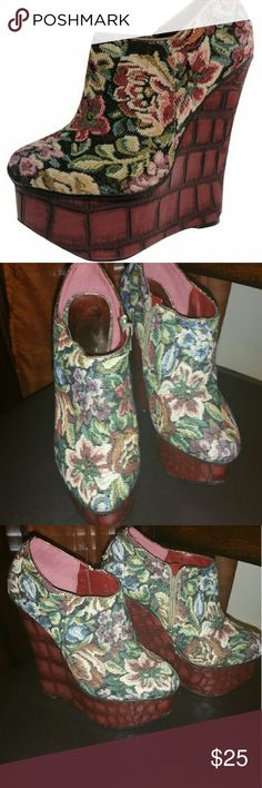 Closet Clear Out! Bucco Floral Wedge No offers accepted during closet Clear out   Well loved, but well cared for. These wedges were a hit everytime I wore them! Edgy, trendy, stylish and daring. bucco Shoes Platforms