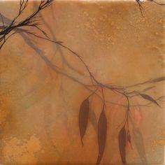 "Ivy Jacobsen. Eucalyptus, 2008    15x15"", oil, bronzing powder, eucalyptus leaves, & resin on panel, private collection"
