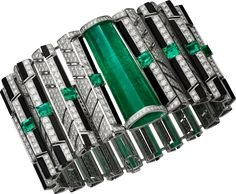 "CARTIER. ""Cinétique"" Bracelet - white gold, one 40.57-carat emerald from Brazil, eight square-shaped and rectangular-shaped corner-cut emeralds from Colombia and Afghanistan totaling 4.07 carats, onyx, brilliant-cut diamonds. #Cartier #CartierMagicien #HauteJoaillerie #FineJewelry #Emerald #Diamond"