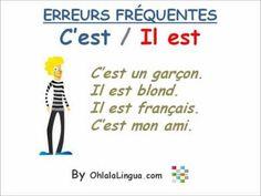 ▶ Cursos de francés: Errores frecuentes - C'est / Il est - YouTube