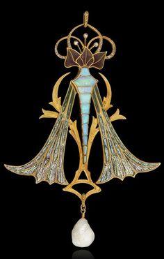 """Art Nouveau Jewelry - Georges Fouquet - Pendentif """"Libéllules"""""""
