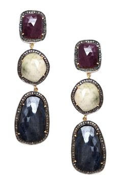 Pave Diamond Triple Sapphire Drop Earrings - 2.20 ctw