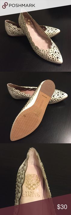 Vince Camuto Flats These *Never worn* Patent-white Vince Camuto flats have a boasting scalloped edge, cutout design, and are embellished with silver studs.  Make a trendy yet delicate statement! Vince Camuto Shoes Flats & Loafers