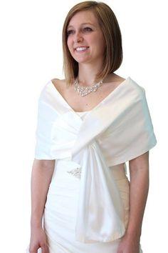Ivory White Satin Reversible Bridal Wrap for Jennifer H Wedding Shrug, Bridal Shrug, Bridal Lace, Evening Shawls, Lace Evening Dresses, Shrug For Dresses, Wedding Wraps, Friend Outfits, Womens Fashion