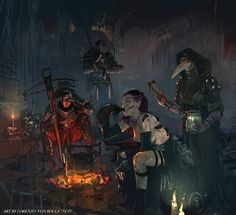 """In Darkest Dungeon even the bonfires can put in crisis. Fortunately the Hellion have thick skin and her alcohol canteen. """"Circle in the dark, the b. Circle in the dark - Darkest Dungeon Dark Fantasy Art, Fantasy Artwork, Darkest Dungeon, Arte Horror, Fantasy Warrior, Medieval Fantasy, Dark Souls, Fantasy Creatures, Dungeons And Dragons"""