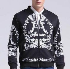 Floral bomber jacket for big and tall men plant laaves and A fleece coat