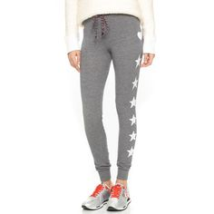 SUNDRY Stars and Hearts Skinny Sweatpants ($105) ❤ liked on Polyvore featuring activewear, activewear pants, heather grey, print sweatpants, drawstring sweat pants, skinny sweatpants, sundry sweatpants and star sweatpants