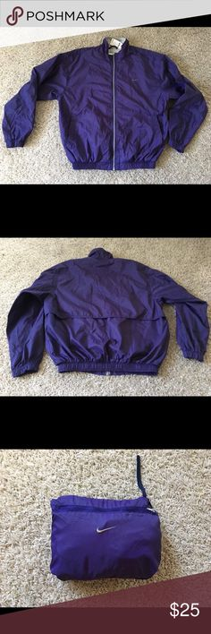 Nike windbreaker jacket Used, Purple Nike windbreaker, small snagged/hole on the back. Not visible unless you look for it. Nike Jackets & Coats