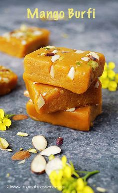 Burfi/ Peda's are khoya/khoa (milk solids) based Indian fudge. Besides the plain ones , they come in varieties of flavors. It's the season of the king of fruits in India, yes none other… Indian Dessert Recipes, Indian Sweets, Sweets Recipes, Cooking Recipes, Indian Recipes, Indian Foods, Dishes Recipes, Fudge Flavors, Pastries